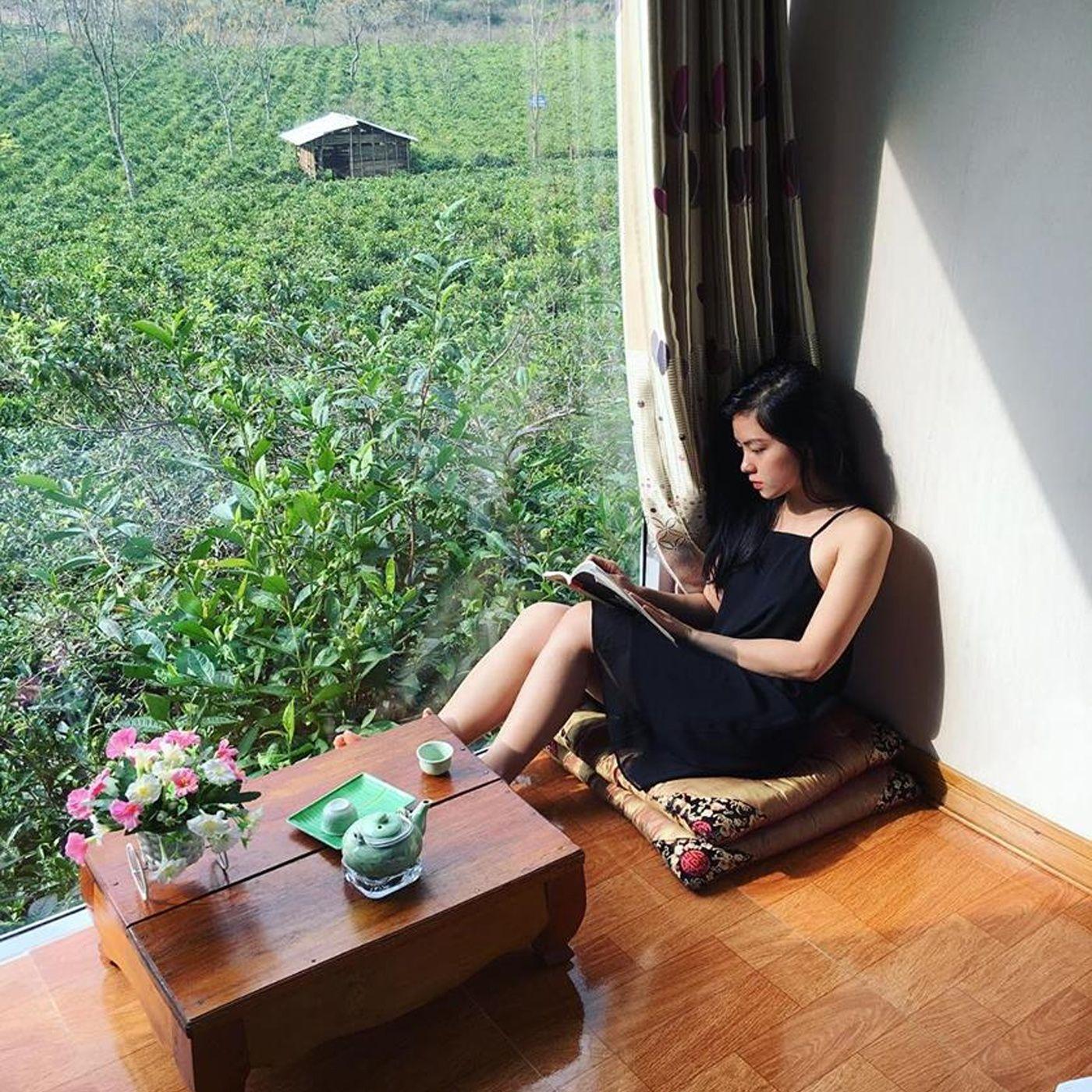 Không gian yên tĩnh khi nghỉ ở Mộc Châu Arena Village