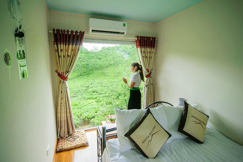 Phòng nghỉ ở Mộc Châu Arena Village luôn tràn ngập ánh mặt trời