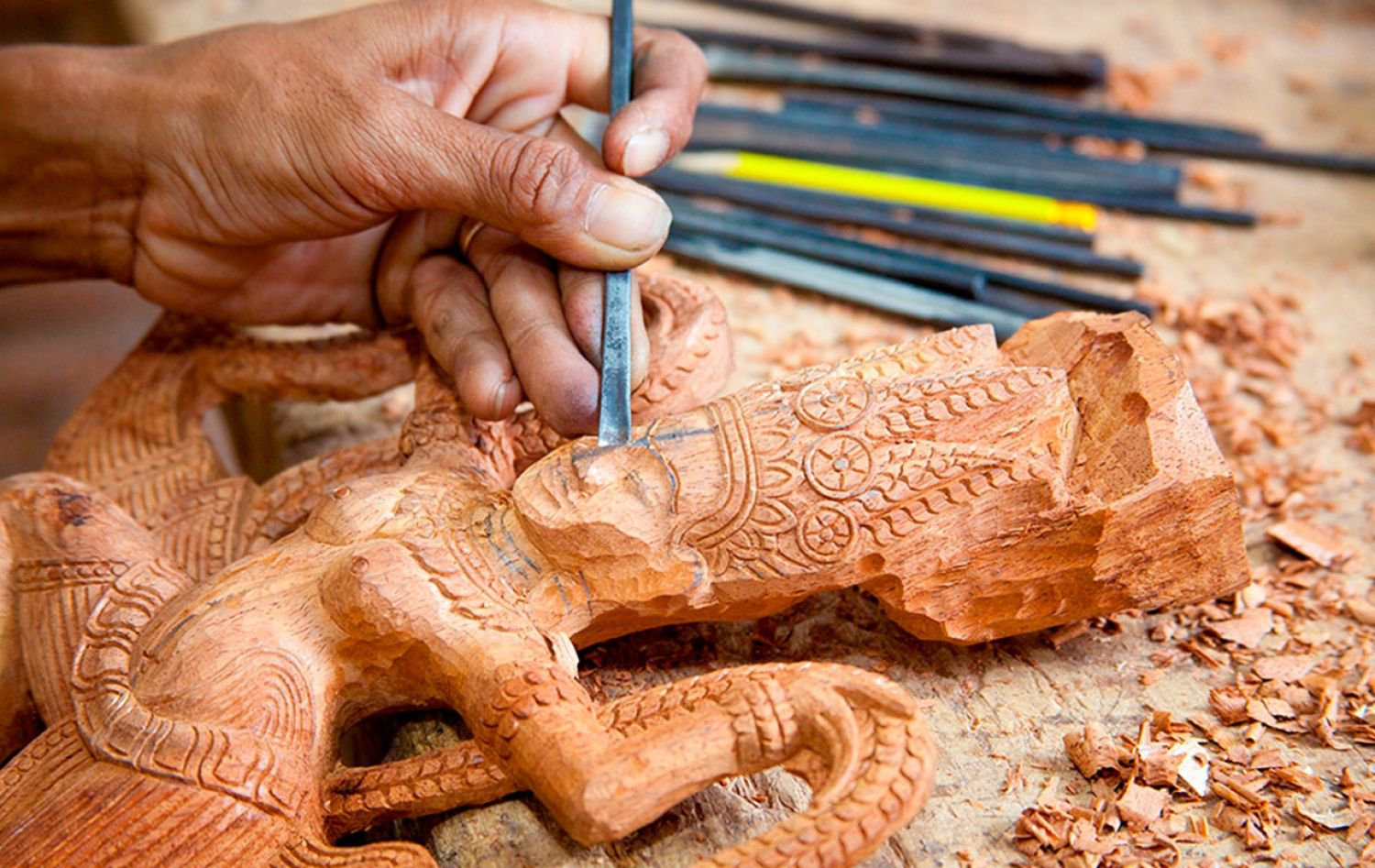 Stone and wood carvings